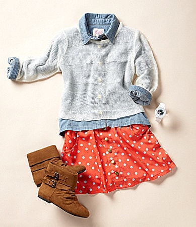 GB Girls Chambray Shirt, Textured Sweater, Scooter Skirt, 3-D Girls Booties