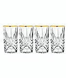 Godinger Dublin Gold Rim Hiball Glasses, Set of 4