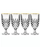 Godinger Dublin Gold Rim Iced Beverage Glasses, Set of 4