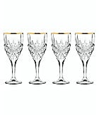 Godinger Dublin Gold Rim Goblet Glasses, Set of 4