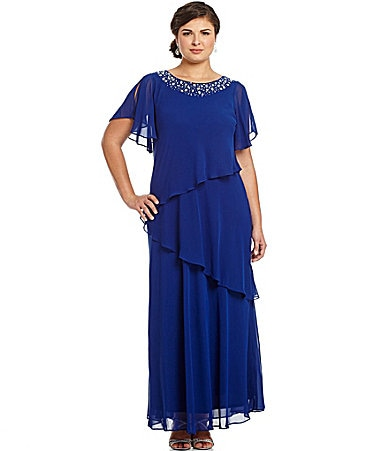Alex Evenings Woman Flutter-Sleeve Gown