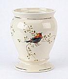 Avanti Gilded Birds Ceramic Wastebasket