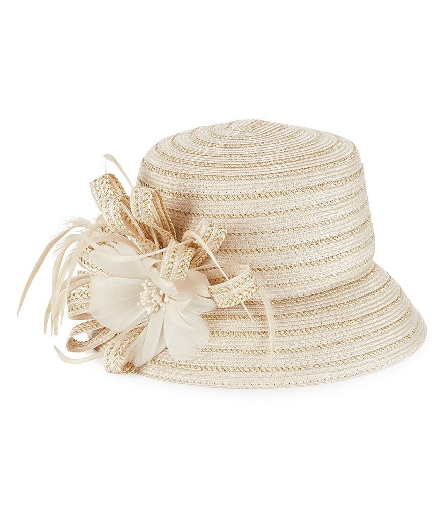 Edwardian Style Hats, Titanic Hats, Derby Hats August Hats Rose Feather Cloche Hat $64.00 AT vintagedancer.com