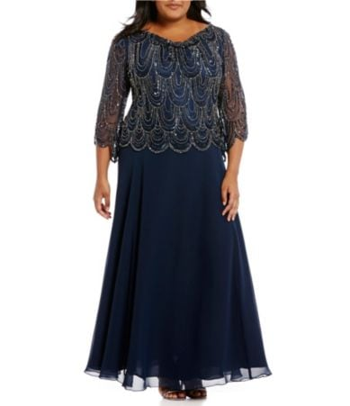 Jkara Plus Size 34 Sleeve Beaded Bodice Mock Flair Gown Dillards