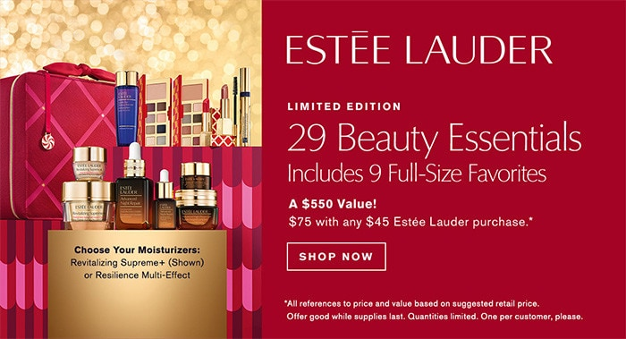 Shop Estee Lauder - 29 Beauty Essentials - $75 with any $45 Estee lauder purchase.