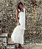 Color:White - Image 2 - Billabong Romance Row Plunging-V-Neck Long Dress