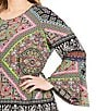 Color:Black/Multi - Image 2 - Calessa Plus Long Sleeve Border Print Tunic