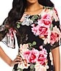 Color:Black Floral - Image 3 - Calvin Klein Floral Print Matte Jersey Smocked Short Bell Sleeve Sheath Dress