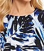 Color:Serene Multi - Image 3 - Calvin Klein Tropical Leaf Print Matte Jersey Pleat Neck Shell
