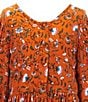 Color:Rust - Image 3 - Girls Big Girls 7-16 Floral Vine Print Peasant Dress