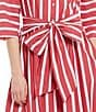 Color:Cherry/Ivory - Image 4 - Cremieux Tyler Stripe Tie Front Midi Dress
