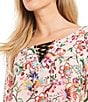 Color:Pink Multi - Image 2 - Democracy Lace-Up Neckline Double Flounce Sleeve Floral Print Blouse