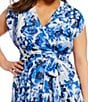 Color:Blue - Image 3 - Eliza J Plus Floral Print Hi Low Wrap Style Maxi Dress
