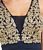 Color:Navy/Gold - Image 4 - Honey and Rosie Embroidered Bodice Fit-And-Flare Dress