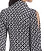 Color:Black/White - Image 4 - MICHAEL Michael Kors Rope Geometric Print Cold Shoulder Shirtdress