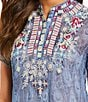 Color:Multi - Image 2 - Paris Hues Embroidered Button-Front Tunic