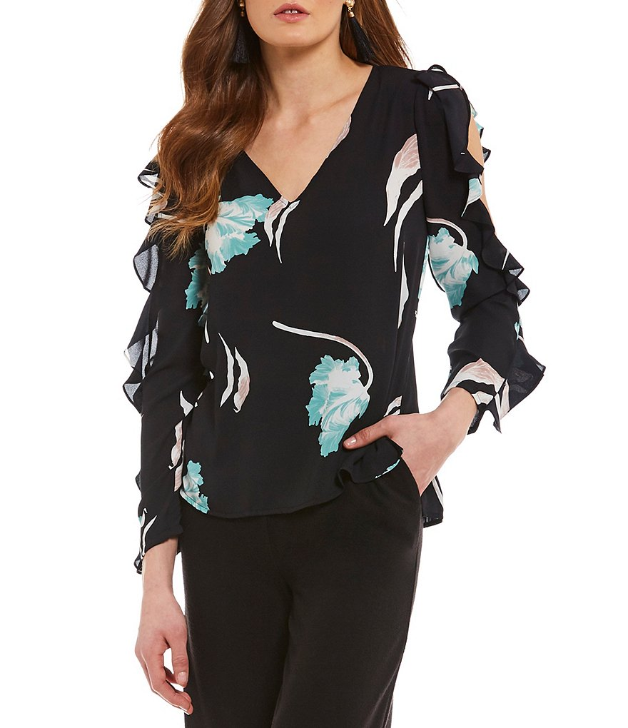 1. STATE Cold Shoulder V-Neck Ruffle Sleeve Blouse