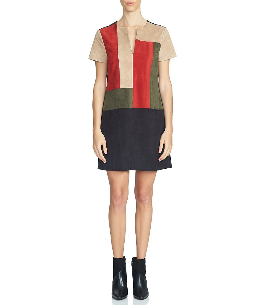 1. STATE Colorblock V-Neck Shift Dress