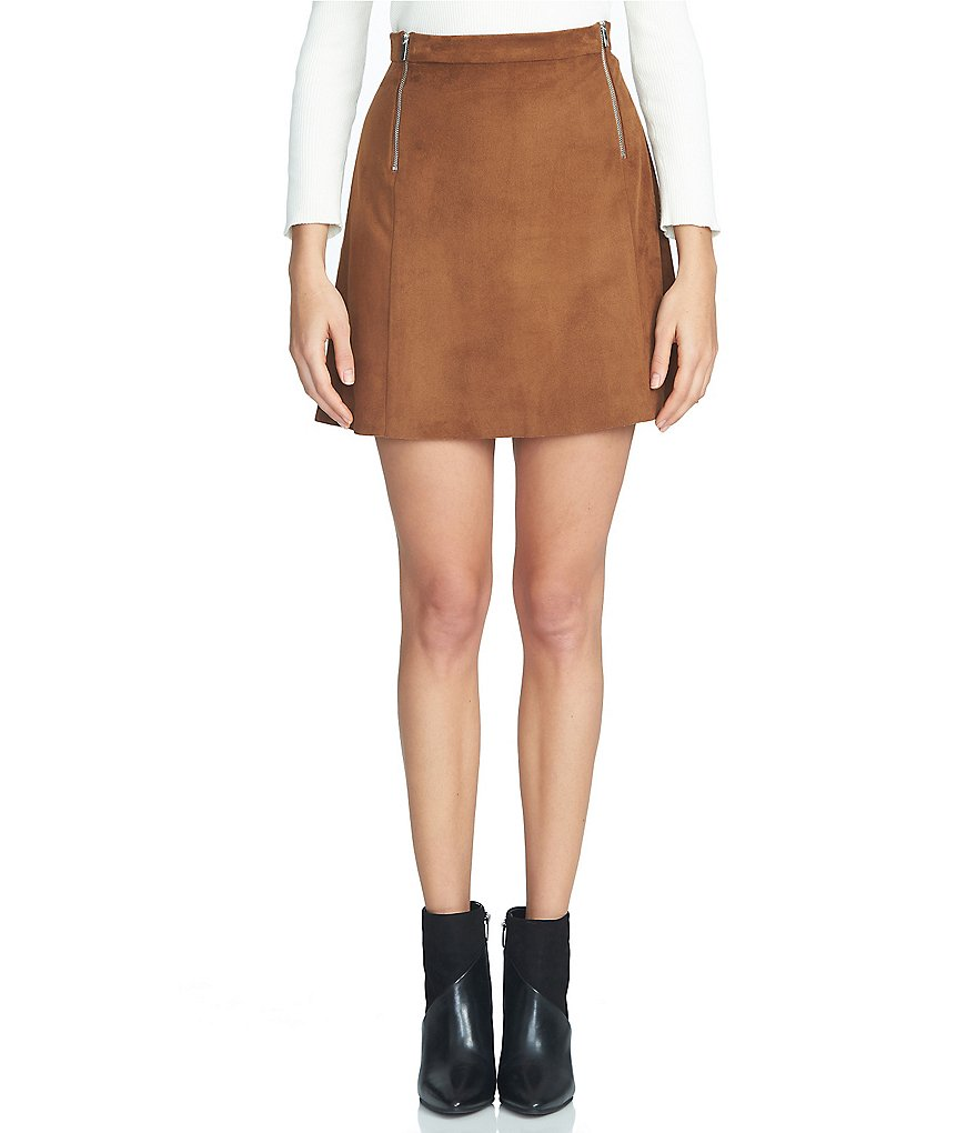 1. State Faux Suede A-Line Mini Skirt