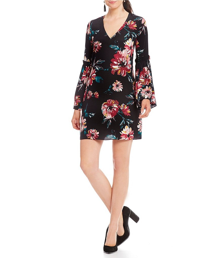 1. STATE Floral Print Bell Sleeve Shift Dress