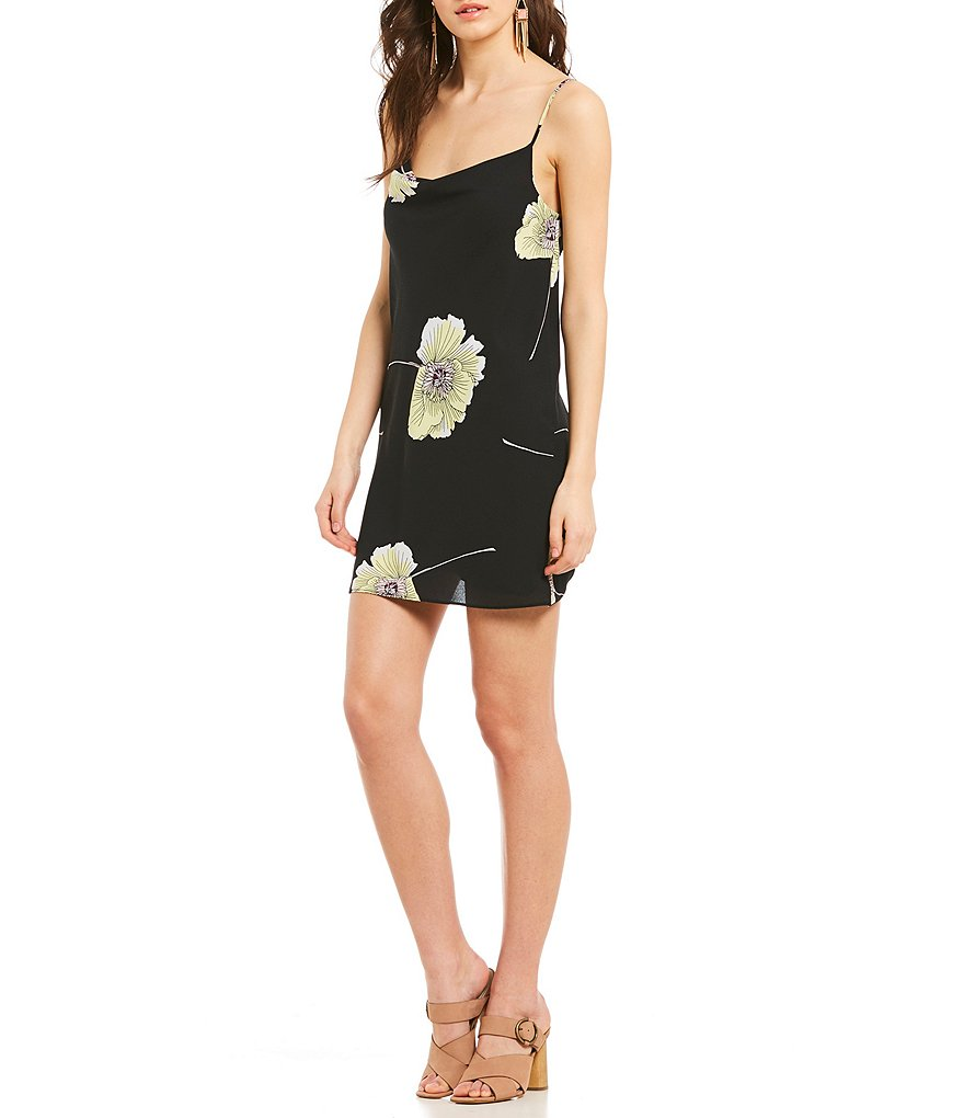 1. STATE Floral Print Drape Back Slip Dress