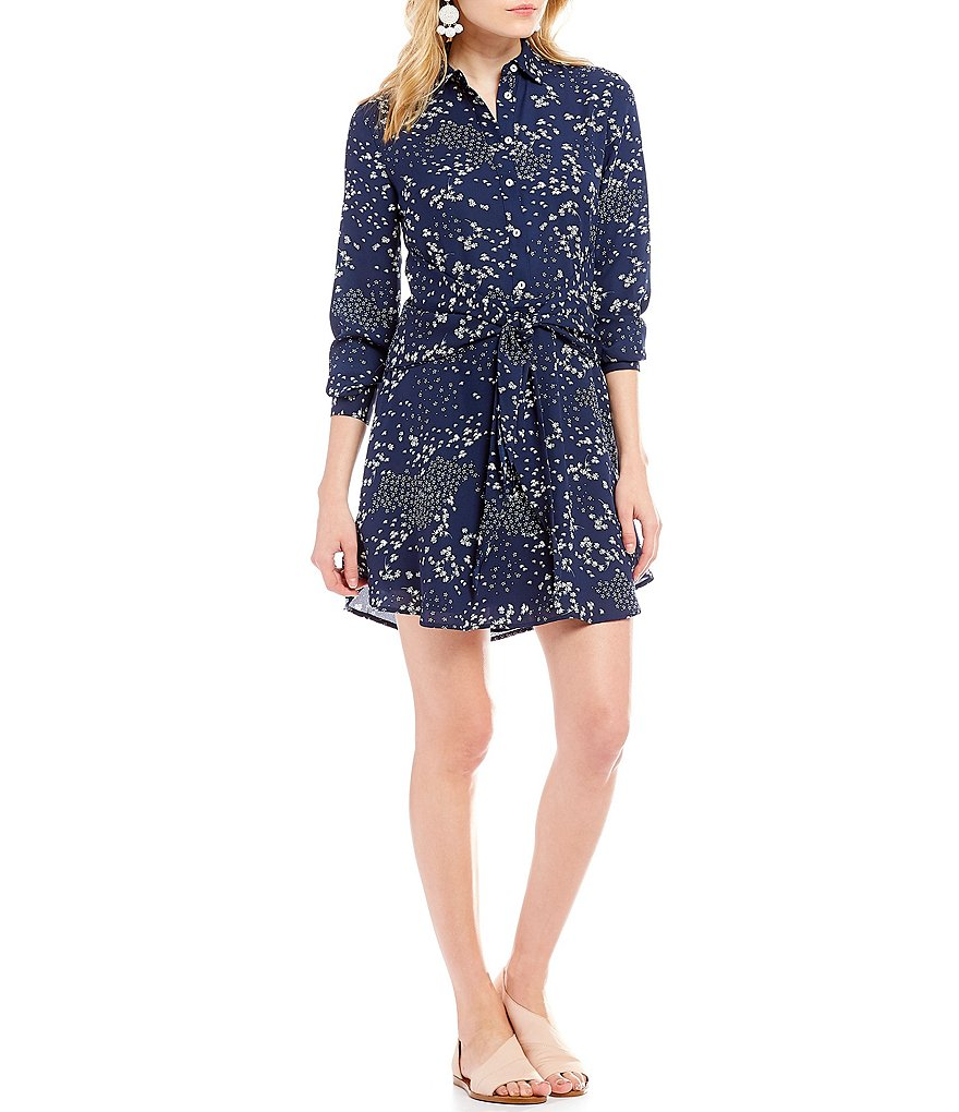 1. STATE Floral Print Tie Front Button Down Dress
