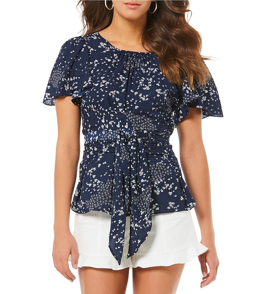 1. STATE Floral Print Tie Waist Flutter Ruffle Sleeve Blouse