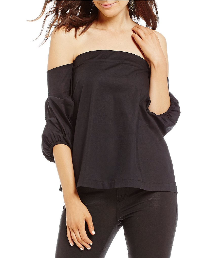 1. STATE Off-the-Shoulder Voluminous Sleeve Poplin Blouse