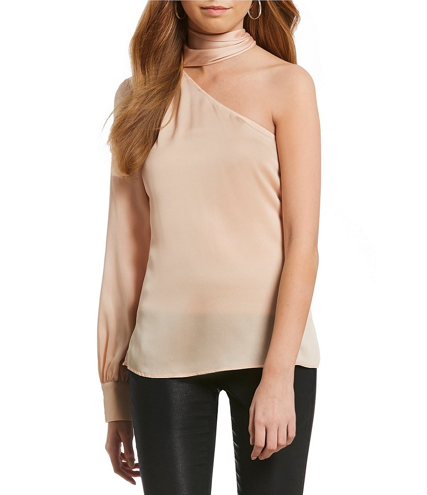 1. STATE One-Shoulder Tie Neck Blouse
