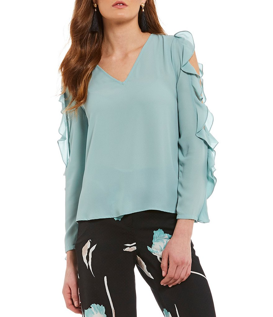 1. STATE Cold Shoulder Ruffle Blouse