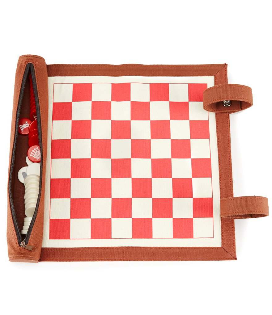 2-In-1 Checkers and Chess Roll-up Game Set