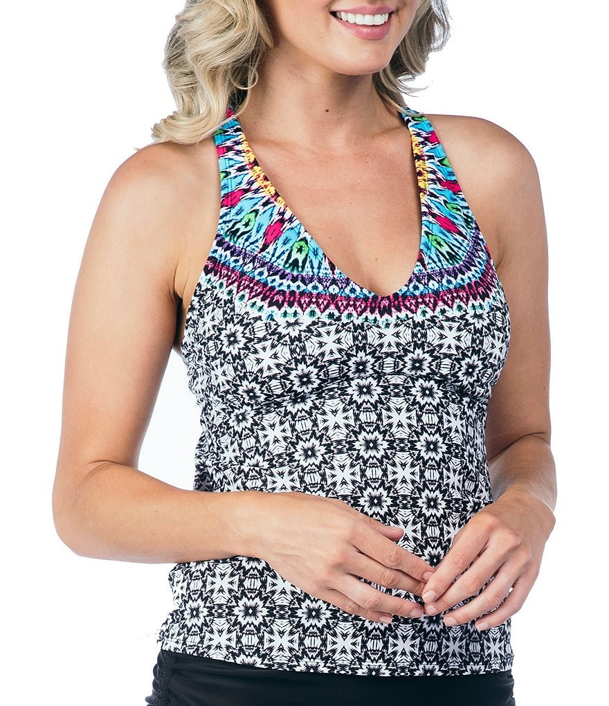 24th & Ocean Tie Dye Medallion Macrame Racerback Tankini Swimsuit Top
