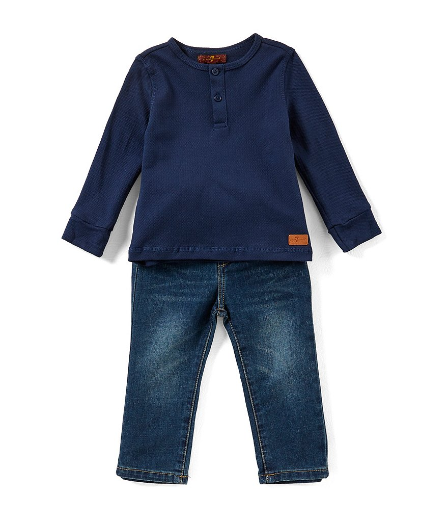 7 for all mankind Baby Boys 12-24 Months Textured Jersey Henley Tee & Denim Jeans Set