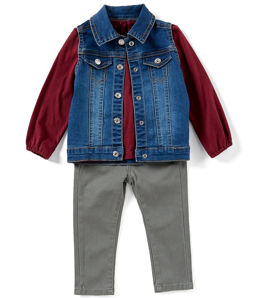 7 for all mankind Baby Girls 12-24 Months Denim Vest, Long-Sleeve Jersey Tee & Twill Pant Set