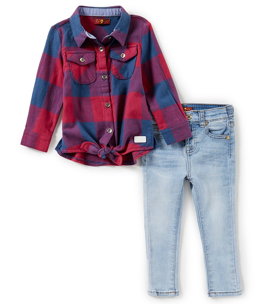 7 for all mankind Baby Girls 12-24 Months Tie-front Plaid Shirt & Denim Jeans Set