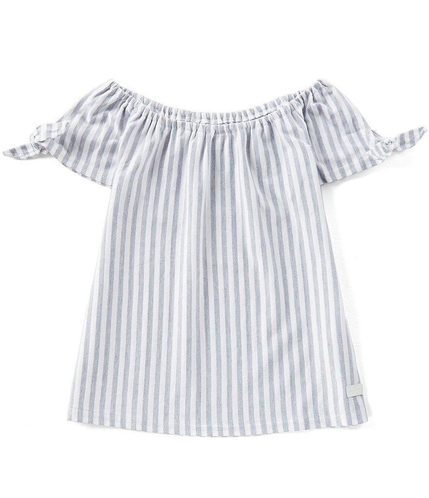 7 for all mankind Big Girls 7-16 Tie Shoulder Striped Tee