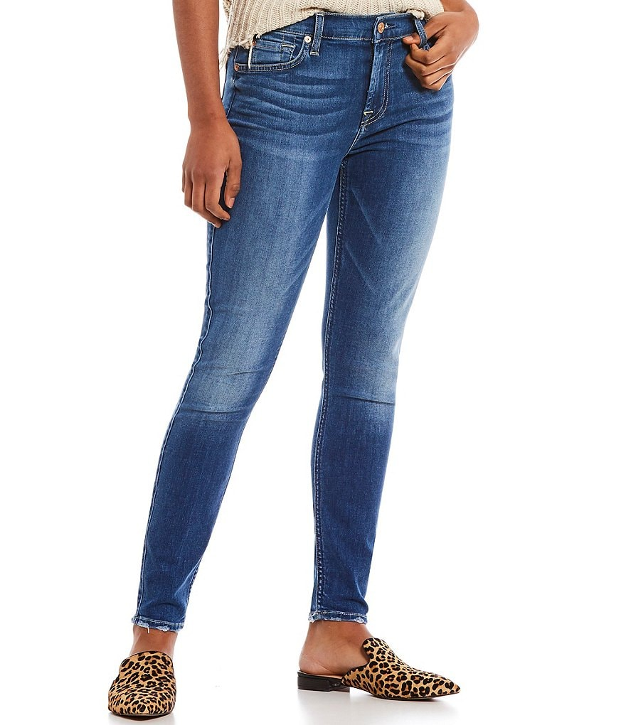 7 for all mankind Grinded Hem Ankle Skinny Jeans