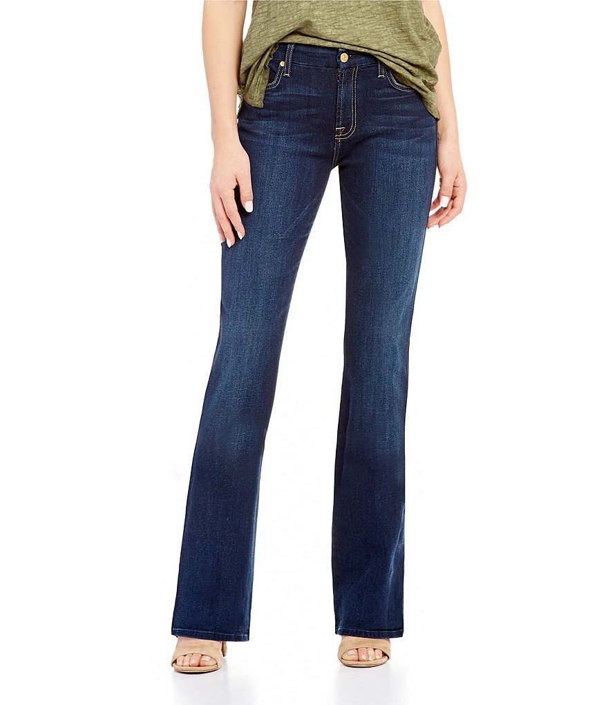 Geniue Stockist Sale Online Comfortable For Sale 7 For All Mankind Woman Frayed Faded Mid-rise Bootcut Jeans Mid Denim Size 25 7 For All Mankind Cheap Sale Original TAhnrDWUA