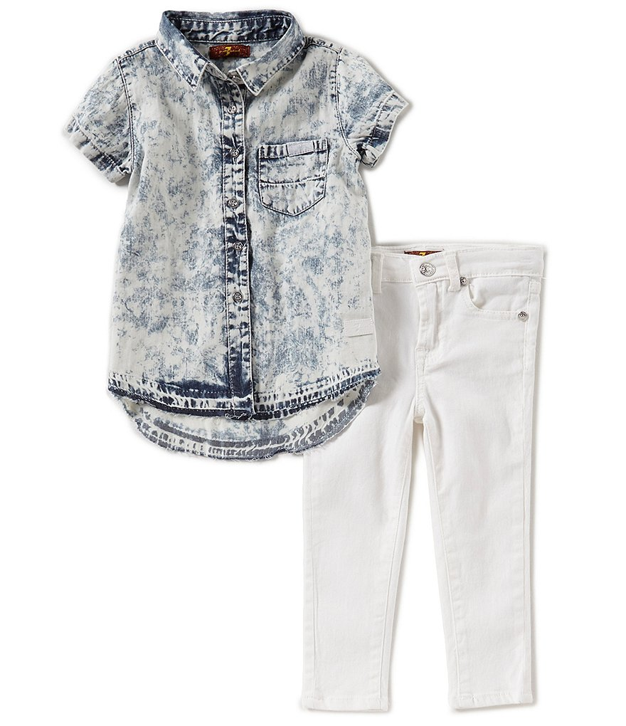 7 for all mankind Little Girls 2T-6X Button-Down Shirt & Jeans Set