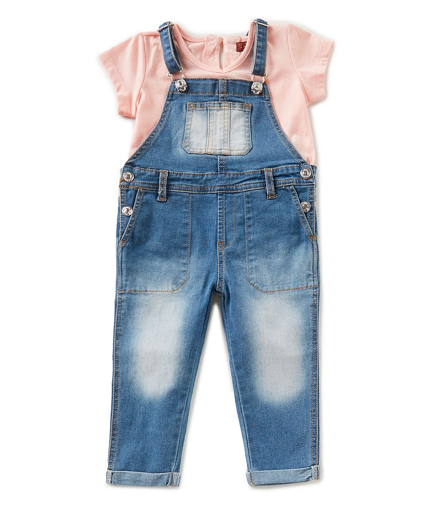 7 for all mankind Little Girls 2T-6X Short-Sleeve Tee & Overall Set