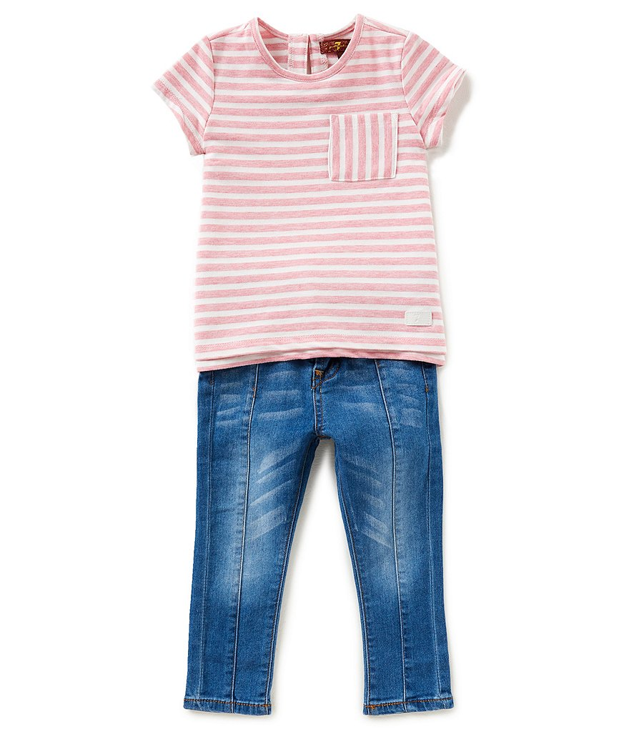 7 for all mankind Little Girls 2T-6X Striped Pocket Tee & Jeans Set