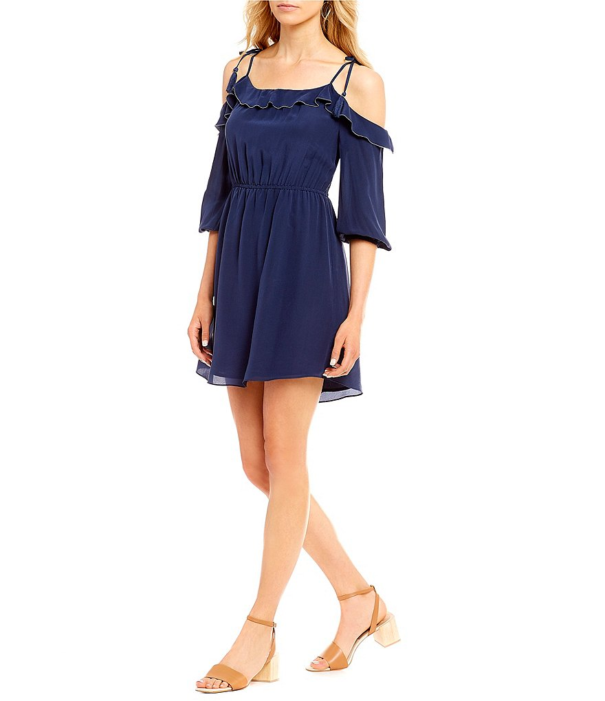 A Loves A Silk Ruffle Tie Off The Shoulder Dress