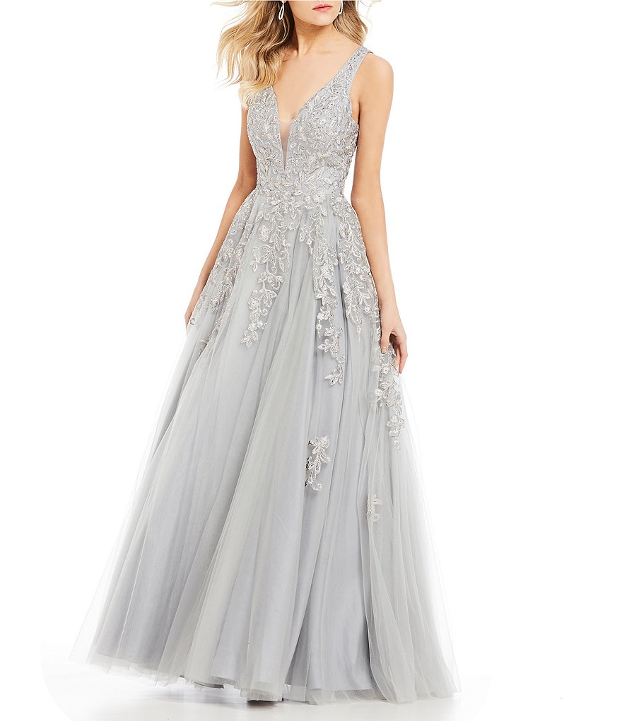 Abbi Vonn by La Femme Embroidered Ball Gown