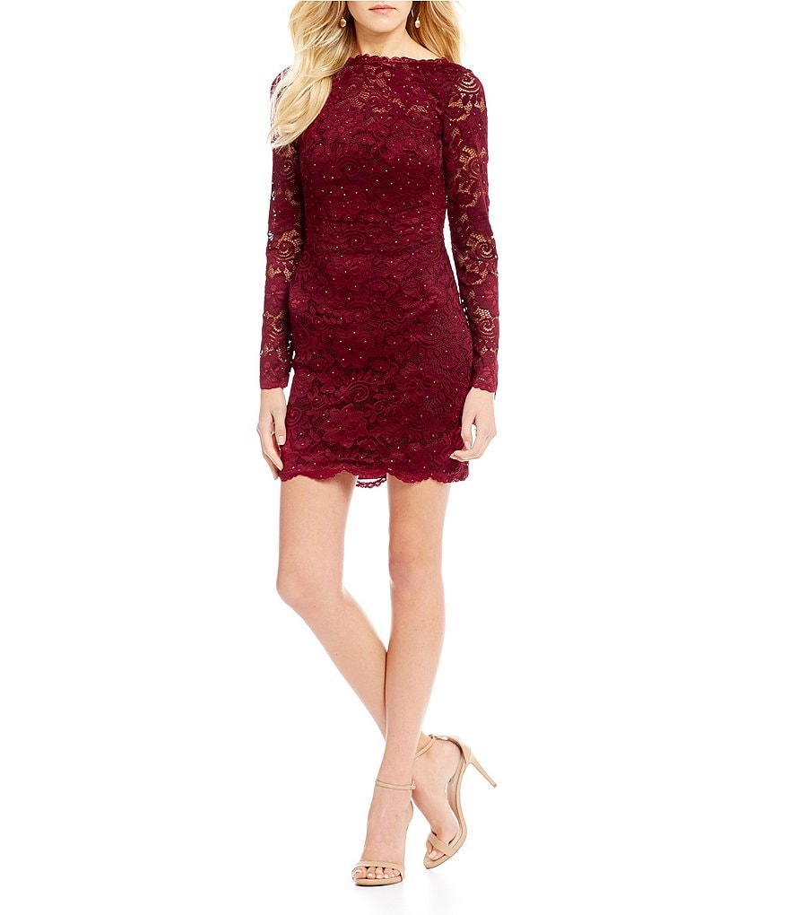 Abbi Vonn by La Femme Open Strappy Back Lace Sheath Dress