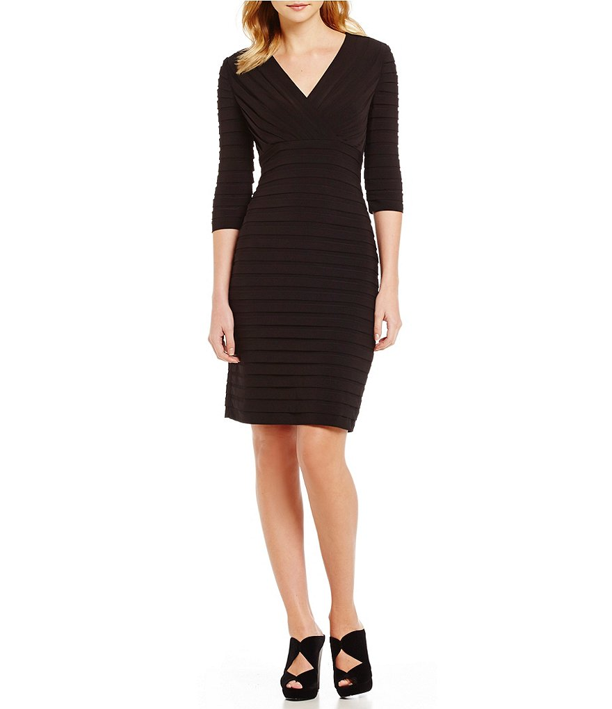 Adrianna Papell 3/4 Sleeve V-Neck Banded Sheath Dress