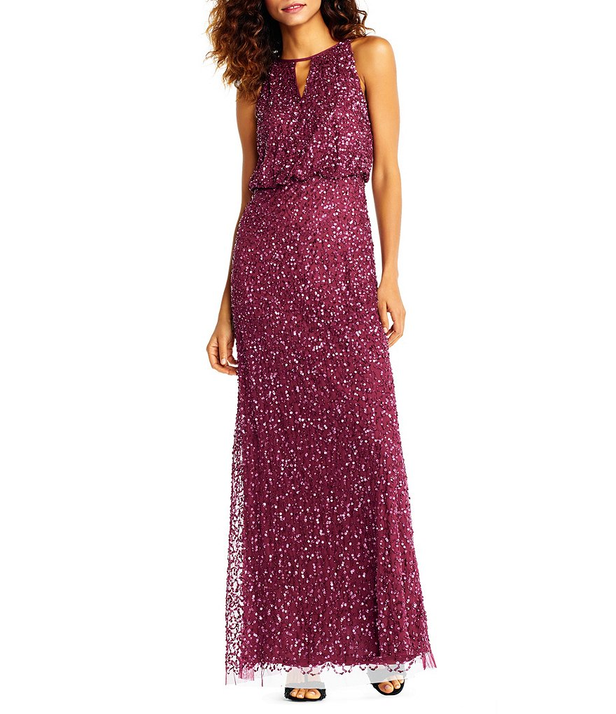 Adrianna Papell Sequin Beaded Blouson Gown