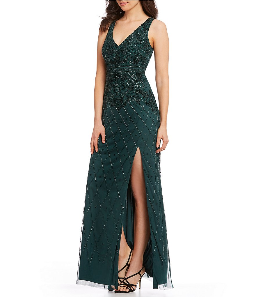 Adrianna Papell Sequin Beaded Deep V-Neck Gown