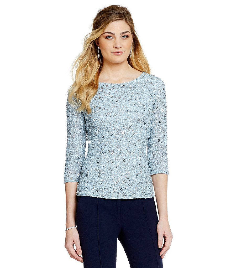 Adrianna Papell Beaded Evening 3/4 Sleeve Top
