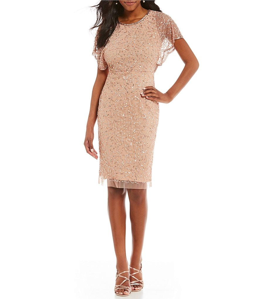 Adrianna Papell Beaded Flutter Sleeve Dress