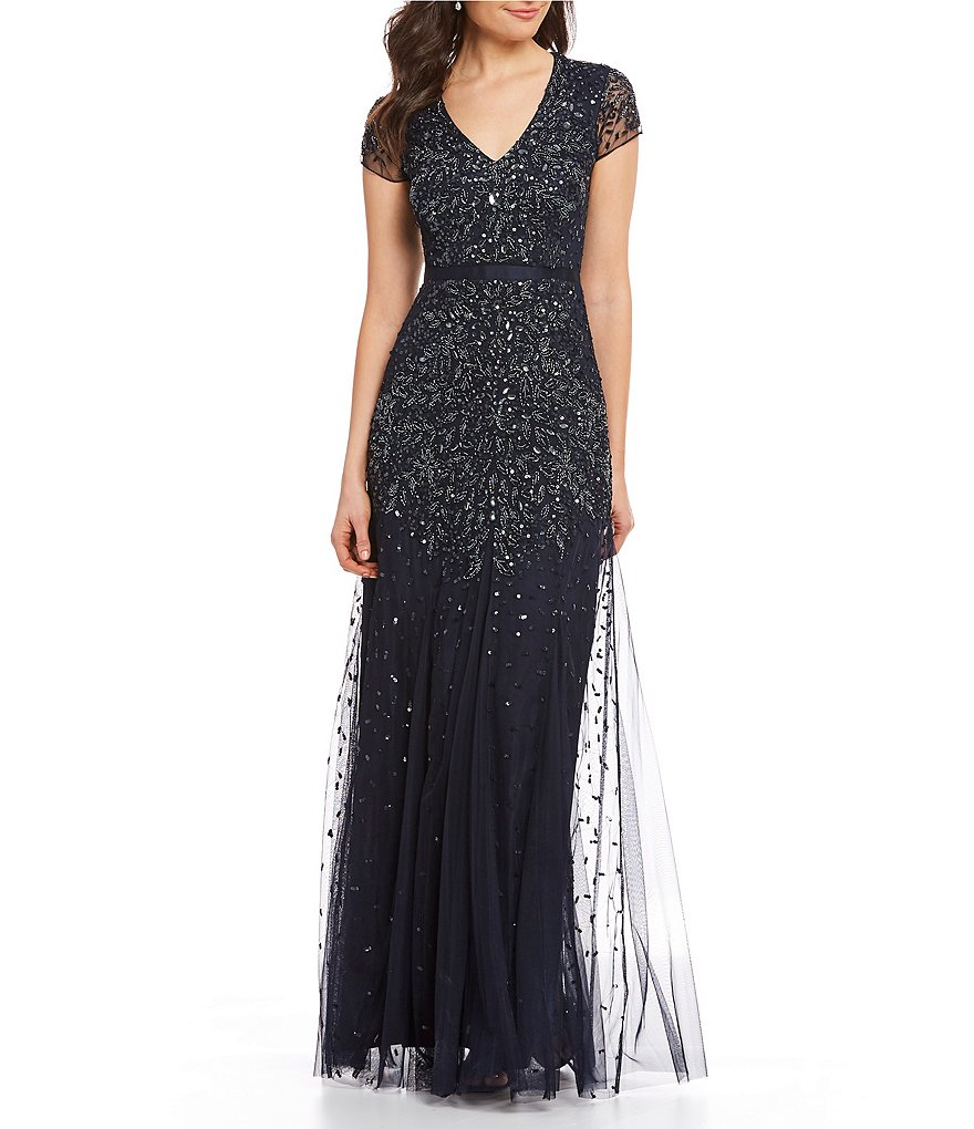 Adrianna Papell Sequin Beaded Mesh Gown